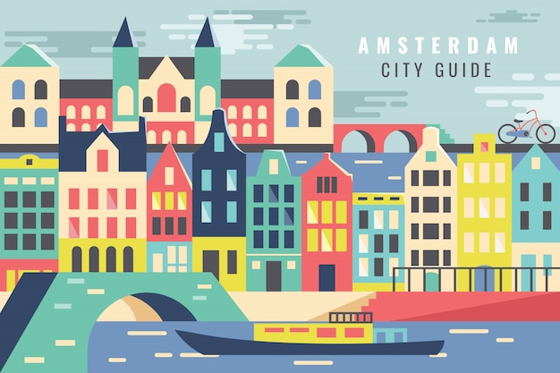 Vector illustratiestad in de reis van amsterdam