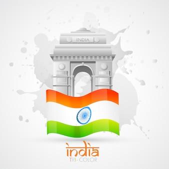Vector india poort met indische vlag
