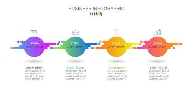 Vector infographic grafiek, bedrijfsconcept met 4 opties.