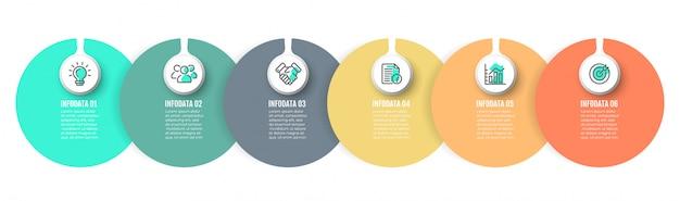 Vector infographic label-elementen met cirkel en 6 opties, stappen.
