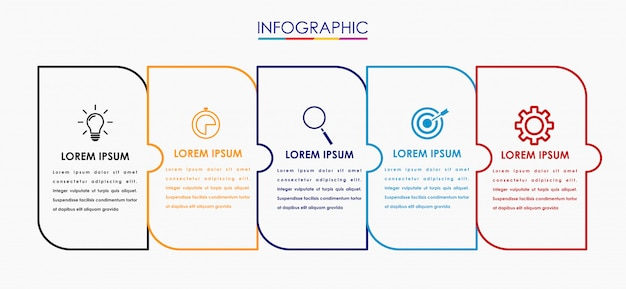 Vector infographic label ontwerpsjabloon met pictogrammen
