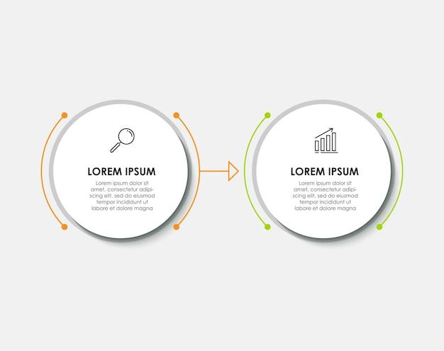 Vector infographic ontwerp illustratie zakelijke sjabloon met pictogrammen en 2 opties of stappen