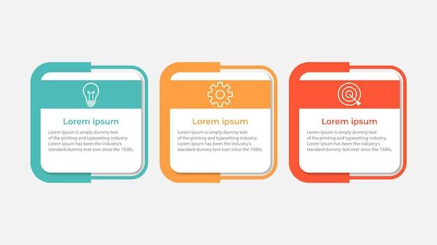 Vector infographic ontwerpsjabloon met 3 opties of stappen