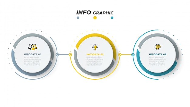 Vector infographic ontwerpsjabloon met marketing pictogrammen. bedrijfsconcept met 3 opties of stappen