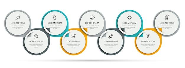 Vector infographic ontwerpsjabloon met pictogrammen en 9 opties of stappen