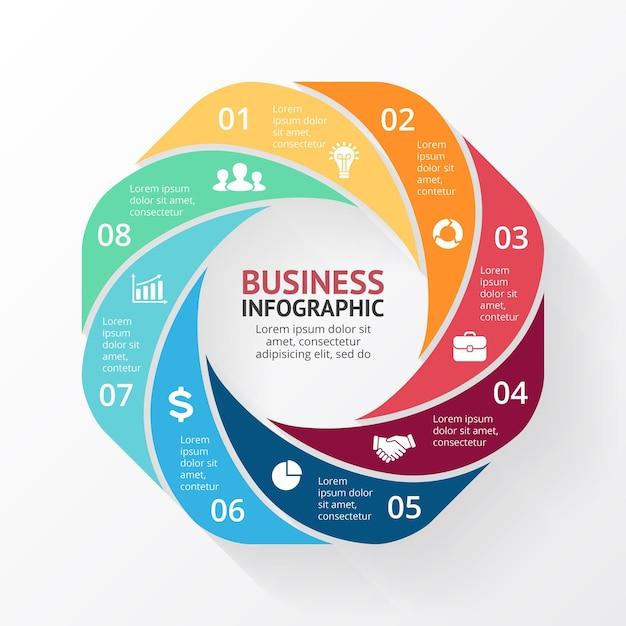 Vector infographic presentatiesjabloon cirkel diagram grafiek 8 stappen onderdelen