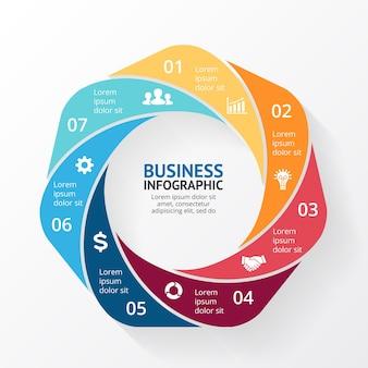 Vector infographic presentatiesjabloon cirkeldiagram grafiek 7 stappen onderdelen