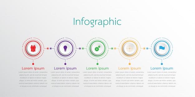 Vector infographic sjablonen die worden gebruikt voor gedetailleerde rapporten. alle 5 onderwerpen.