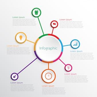 Vector infographic sjablonen die worden gebruikt voor gedetailleerde rapporten. alle 7 onderwerpen.