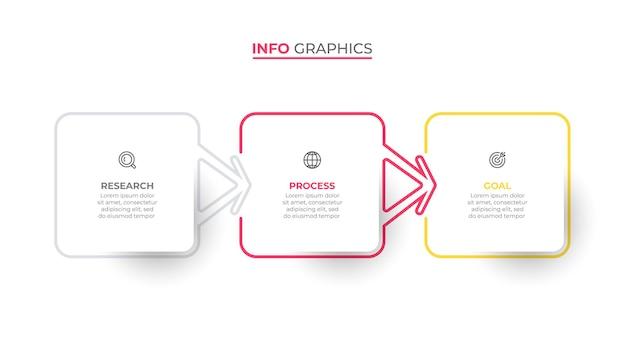 Vector infographic sjabloon labelontwerp met pijlen en pictogrammen bedrijfsconcept met 3 stappen