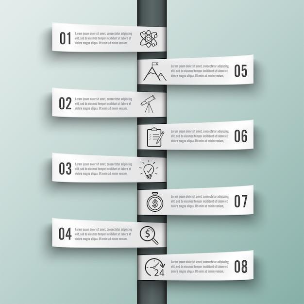 Vector infographic sjabloon met 3d-papier label. bedrijfsconcept met 8 opties.