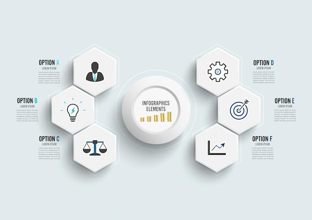Vector infographic sjabloon met 3d-papier label, geïntegreerde cirkels. bedrijfsconcept met 6 opties.