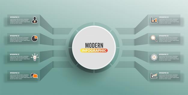Vector infographic sjabloon met 3d-papier label, geïntegreerde cirkels. bedrijfsconcept met 8 opties