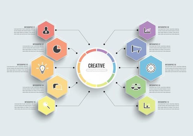 Vector infographic sjabloon met 3d-papieren label, geïntegreerde cirkels.