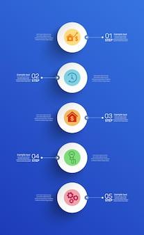 Vector infographic sjabloon met 5 stappen