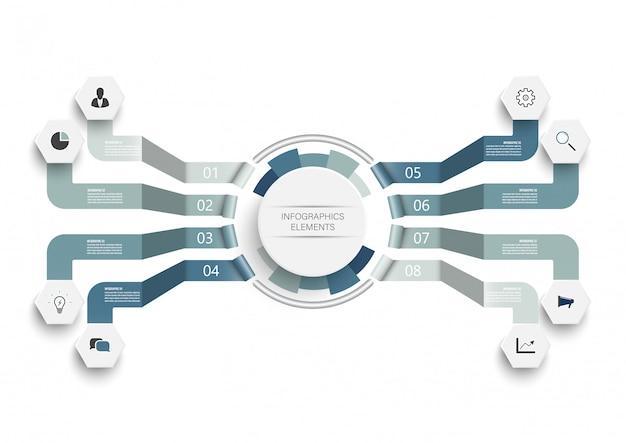 Vector infographic sjabloon met geïntegreerde cirkels. bedrijfsconcept met 8 opties.