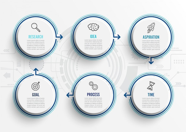 Vector infographic sjabloon met pictogrammen en 6 opties of stappen.