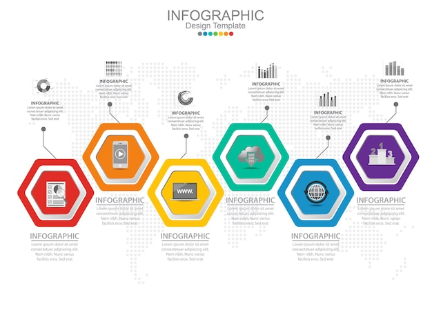Vector infographic sjabloon met zes opties en pictogrammen.
