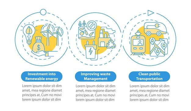 Vector infographic sjabloon voor opwarming van de aarde verminderen. afvalbeheer presentatie schets ontwerpelementen. datavisualisatie met 3 stappen. proces tijdlijn info grafiek. workflowlay-out met lijnpictogrammen