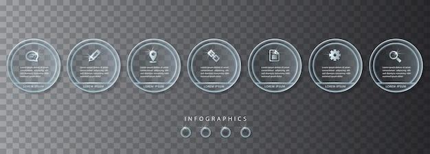 Vector infographic ui ontwerpsjabloon transparante glazen labels en pictogrammen. ideaal voor de indeling van de werkstroom, de lay-out van de banner, de presentatie en het processchema.