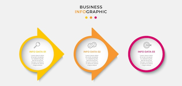 Vector infographic zakelijke ontwerpsjabloon met pictogrammen en 3 opties of stappen