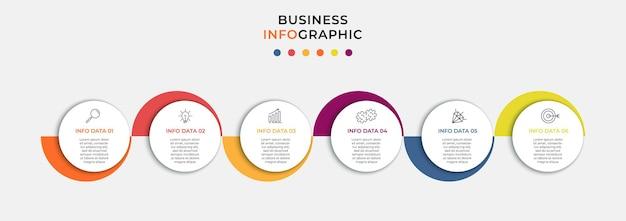 Vector infographic zakelijke ontwerpsjabloon met pictogrammen en 6 opties of stappen. kan worden gebruikt voor procesdiagram, presentaties, workflowlay-out, banner, stroomschema, infografiek