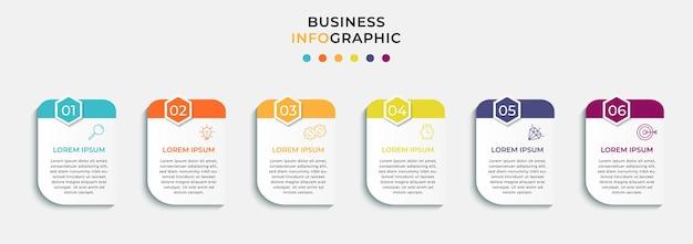 Vector infographic zakelijke ontwerpsjabloon met pictogrammen en 6 opties of stappen