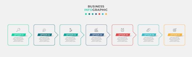 Vector infographic zakelijke ontwerpsjabloon met pictogrammen en 7 opties of stappen. kan worden gebruikt voor procesdiagram, presentaties, workflowlay-out, banner, stroomschema, infografiek