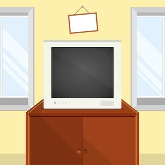 Vector interieur met tv, ramen en tv-tafel. vectorillustratie in vlakke stijl.