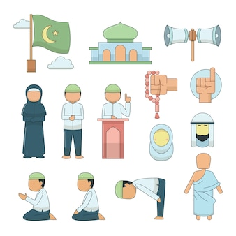 Vector islamitische pictogrammen instellen.