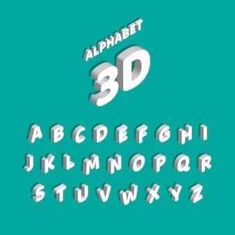 Vector isometrisch lettertype. set van letters en cijfers geïsoleerd op blauw.