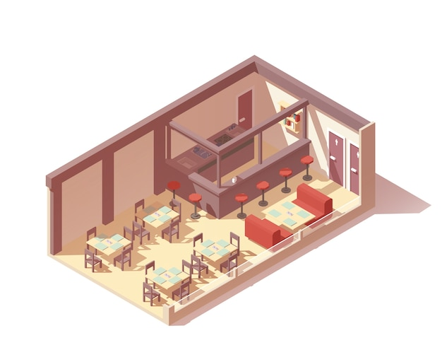 Vector isometrische café of restaurant interieur