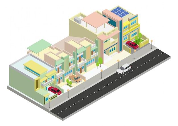 Vector isometrische cluster gebied woningbouw