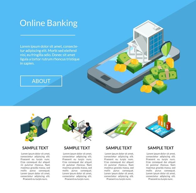 Vector isometrische geldstroom in de illustratie van het de bestemmingspagina van de bankpagina
