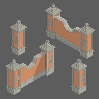 Vector isometrische hek set, bouwpakket
