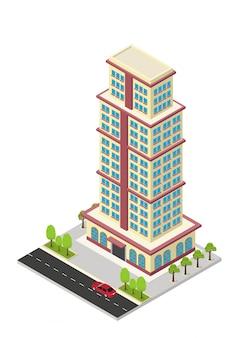 Vector isometrische hotel, appartement of wolkenkrabber gebouw