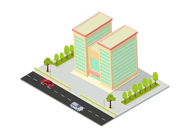 Vector isometrische hotel, kantoor, appartement of wolkenkrabber gebouw