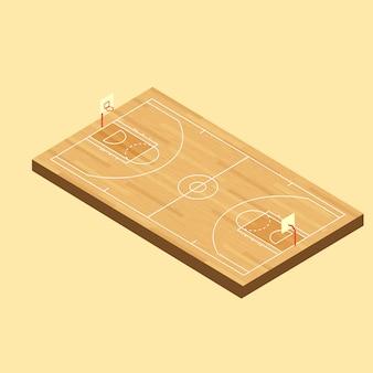 Vector isometrische houten basketbalveld