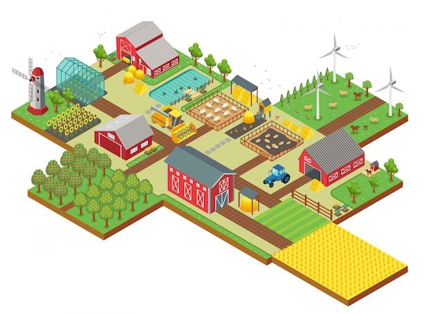 Vector isometrische landelijke boerderij met molen, tuinveld, boerderijdieren, bomen, tractor maaidorser, huis, windmolen en magazijn voor app en spel