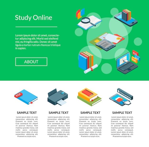 Vector isometrische online onderwijs bestemmingspagina sjabloon
