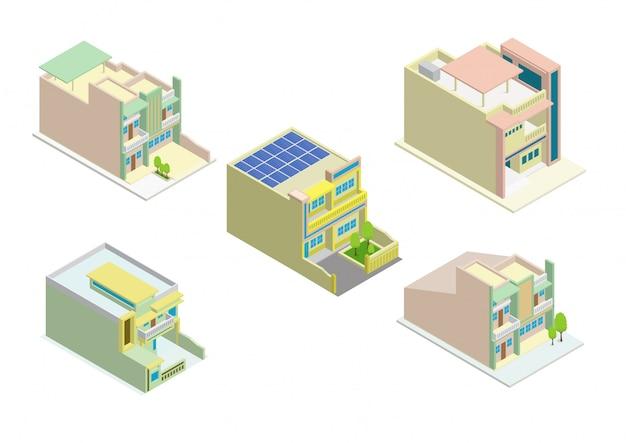 Vector isometrische set van modern huis