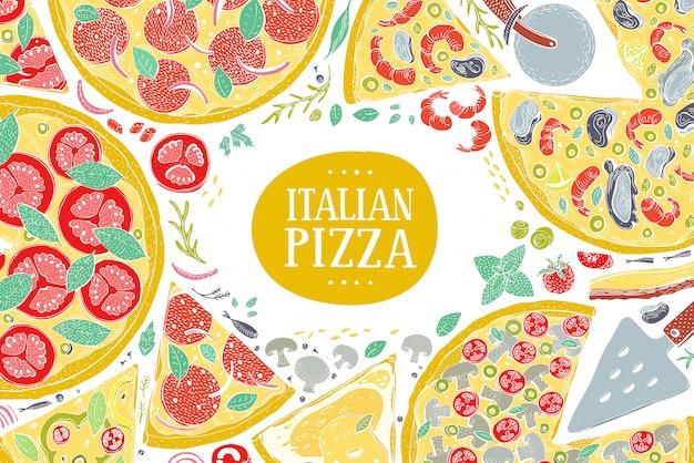 Vector italiaanse pizza bovenaanzicht kleurrijke frame.