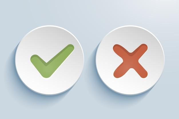 Vector ja en geen vinkjes op cirkels