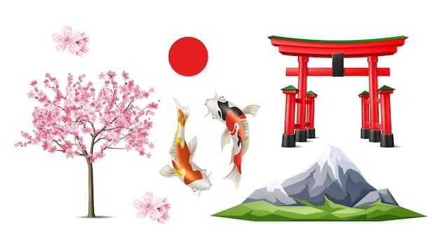 Vector japanse torii poort sakura koi carp