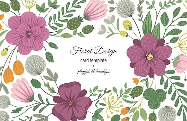 Vector kaartsjabloon met florale elementen. ontwerpen met bloemen