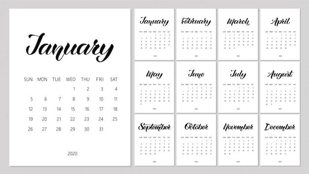 Vector kalender planner voor 2020 jaar met handgetekende letters