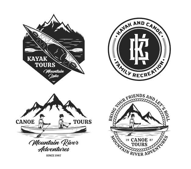 Vector kanoën en kajakken badges en ontwerpelementen