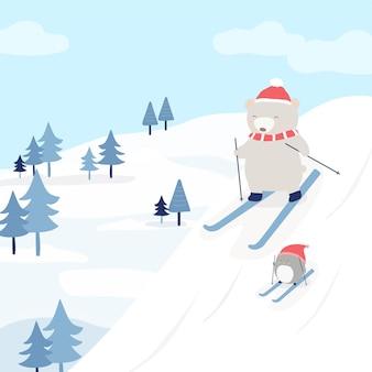 Vector karakter met een beer en een pinguïn skiën in de sneeuw