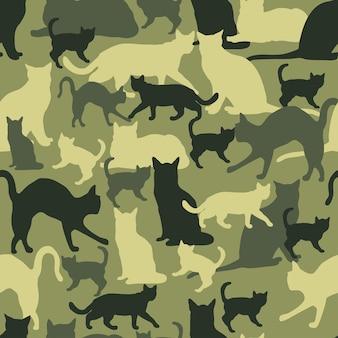 Vector kat camouflage militair naadloos patroon
