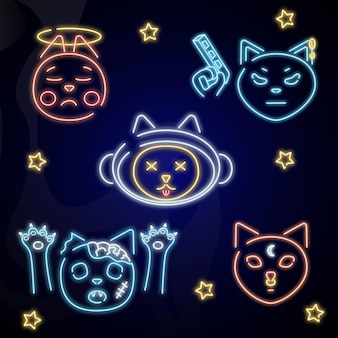 Vector katten pictogrammen neon katten neon wanddecoratie illustratie met katten